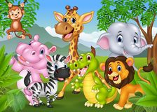 Cartoon wild animal in the jungle Royalty Free Stock Images