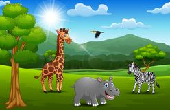 Cartoon wild animal in the jungle with a mountain background. Vector illustration of Cartoon wild animal in the jungle with a mountain background royalty free illustration