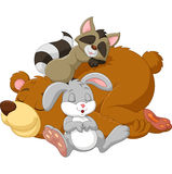 Cartoon wild animal sleeping together Stock Images