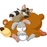 Cartoon wild animal sleeping together Stock Images