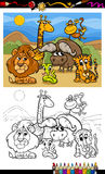 Cartoon wild animals coloring page Royalty Free Stock Photo