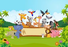Cartoon wild animals holding banner Stock Photography