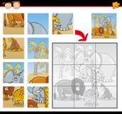 Cartoon wild animals jigsaw puzzle game. Cartoon Illustration of Education Jigsaw Puzzle Game for Preschool Children with Funny Safari Wild Animals Group Stock Photos