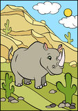 Cartoon wild animals for kids. Cute rhinoceros. Stock Image