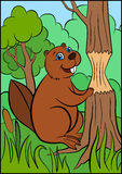 Cartoon wild animals for kids. Little cute beaver stands near the tree. Stock Photography