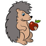 Cartoon wild animals for kids. Little cute hedgehog holds apple Stock Photos