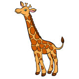 Cartoon wild animals for kids. Little cute spotted giraffe. Stock Images