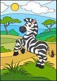 Cartoon wild animals for kids. Little cute zebra. Stock Photography
