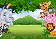 Cartoon wild animals with nature landscape background Stock Images