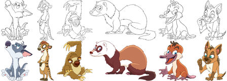 Cartoon wild animals set Royalty Free Stock Image