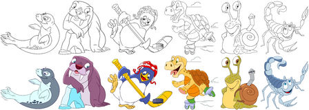 Cartoon wild animals set. Cartoon animals set. Sea lion seal or sea calf, walrus, penguin hockey player, turtle roller skating, snail with shell as a backpack Stock Photo