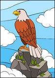 Cartoon wild birds for kids: Eagle. Cute eagle sits on the rock. Stock Photo
