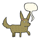 Cartoon wild dog with speech bubble Royalty Free Stock Images