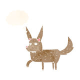Cartoon wild dog with thought bubble Royalty Free Stock Image