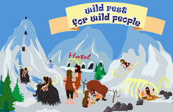 Cartoon with wild primitive people. Isolated illustration with primitive people, skiing and mammoths, the descent from the mountain Stock Photo