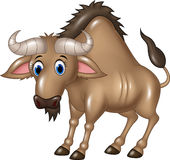 Cartoon Wildebeest mascot isolated on white background Royalty Free Stock Photos