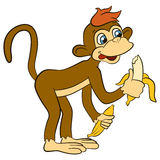 Cartoon wils animals for kids. Little cute monkey holds banana. Stock Images