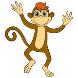 Cartoon wils animals for kids. Little cute monkey runs and waves Stock Images