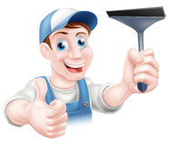 Cartoon window cleaner Royalty Free Stock Images