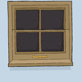Cartoon Window with Evening View Royalty Free Stock Photography