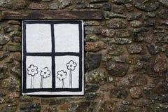 Cartoon window and flowers Stock Photos