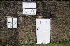Cartoon windows and door Royalty Free Stock Photography