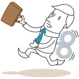 Cartoon windup businessman running Stock Photography