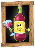 Cartoon wine on blackboard Royalty Free Stock Photo