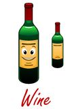 Cartoon wine bottle. Cartoon vintage wine bottle with a happy smiling face,foralcohol, cafe and restaurant menu design Stock Images