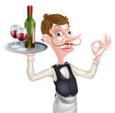 Cartoon wine waiter. A cartoon waiter holding a silver tray with a bottle of wine and wine glasses full of wine on it doing a perfect hand sign Stock Photo