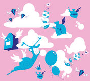 Cartoon of winged creatures. Flying in pink sky Stock Image
