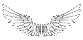 Cartoon wings in black and white. Vector illustration Royalty Free Stock Photos