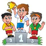 Cartoon winners podium Stock Image