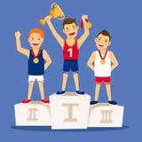 Cartoon winning sportsmen on pedestal Royalty Free Stock Image