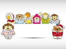Cartoon winter animal banner Royalty Free Stock Photo
