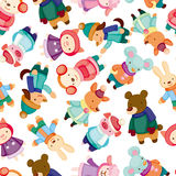 Cartoon winter animal seamless pattern Stock Photo