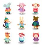 Cartoon winter animal set Stock Images