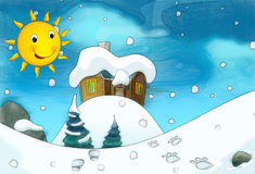 Cartoon winter background - with footsteps - scene for different fairy tales. Beautiful and colorful illustration for the children Royalty Free Stock Photo