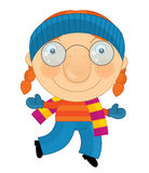 Cartoon winter child. Beautiful and colorful illustration for the children Royalty Free Stock Photo