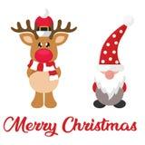 Cartoon winter christmas deer and cartoon christmas dwarf and christmas text. Vector image of a cartoon winter christmas deer and cartoon christmas dwarf and vector illustration