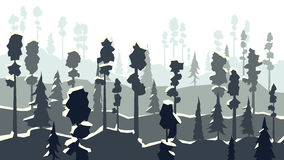 Cartoon of winter coniferous forest in in dark blue tone. Royalty Free Stock Photos