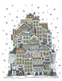 Cartoon winter construction town. Illustration of fantasy vector fairy-tale drawing town Stock Photos