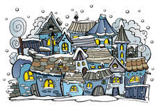 Cartoon winter fairytale town Stock Image