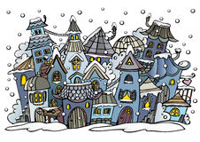 Cartoon winter fairytale town Royalty Free Stock Image