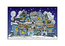 Cartoon winter fairytale town Royalty Free Stock Images