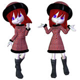 Cartoon winter girl Royalty Free Stock Photography