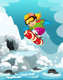 Cartoon winter happy and funny scene with snowboarder jumping - for different usage Stock Photography