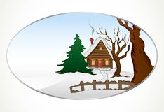 Cartoon winter house. Vector background Stock Photos