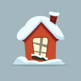 Cartoon Winter house. Vector image of the red brick christmas houses covered with snow. Cartoon Winter house in simple vector style for Xmas Royalty Free Stock Photography