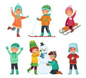Cartoon winter kids. Children play in winters holiday, sledding and making snowman. Childrens characters vector set stock illustration